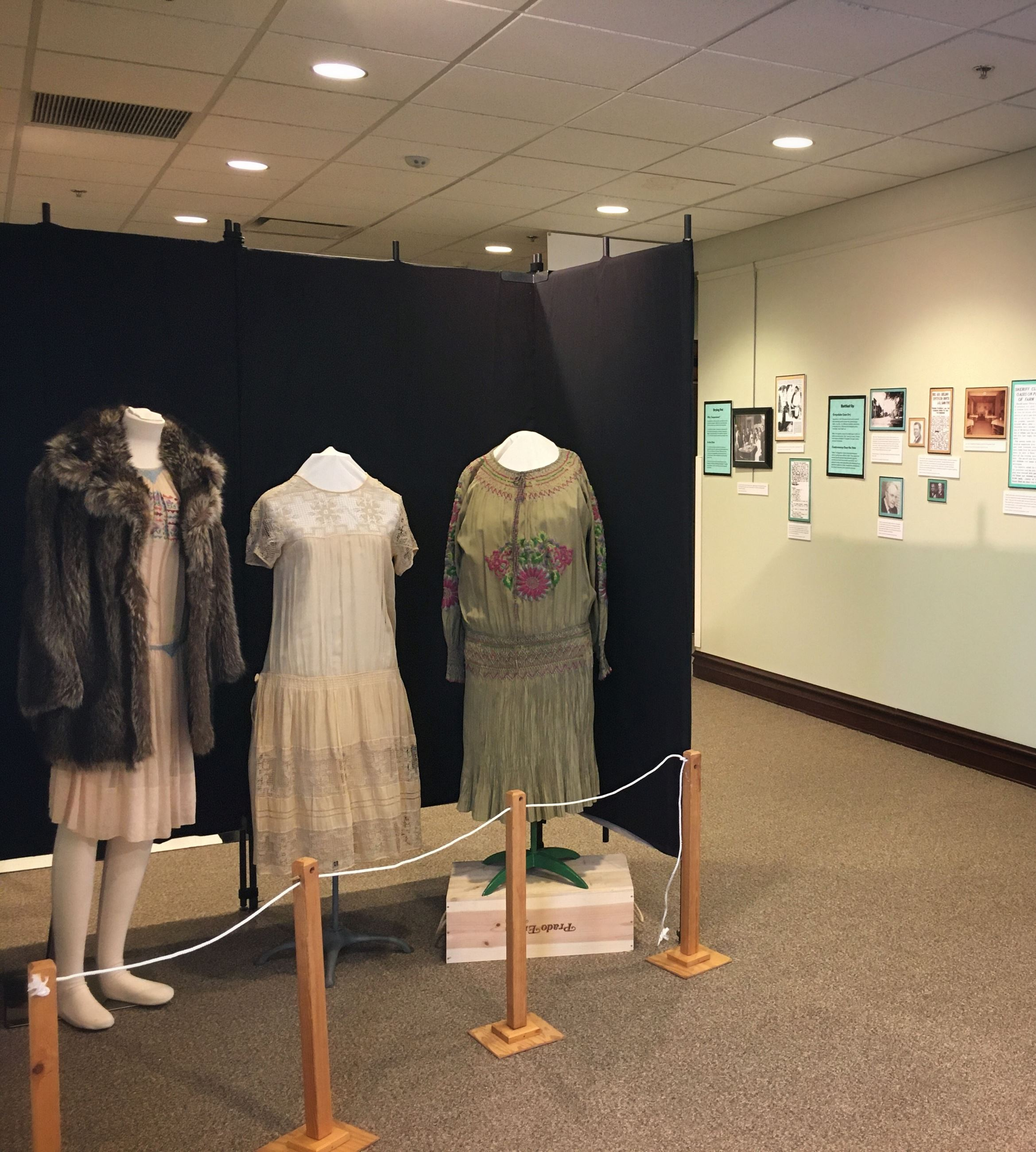 Period appropriate dresses for the Bars and Prohibition Exhibit