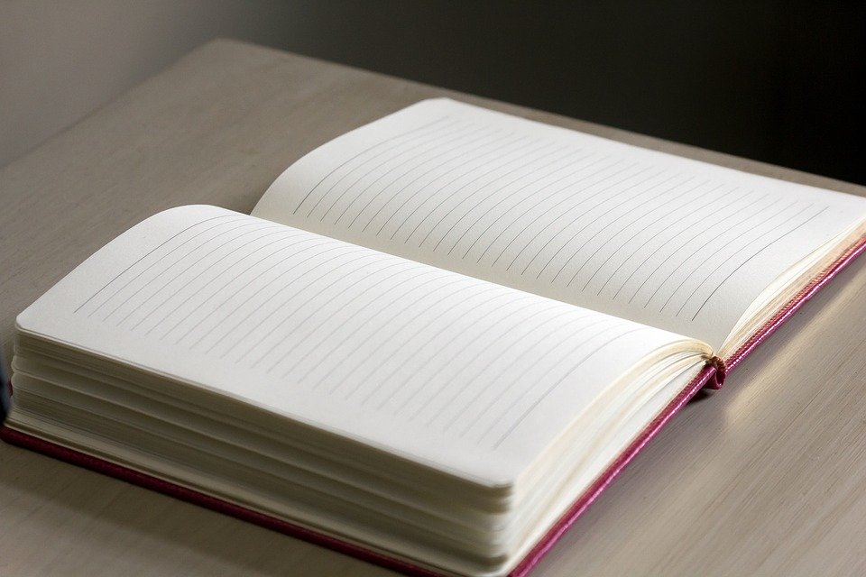 Old-fashioned journal open with blank pages