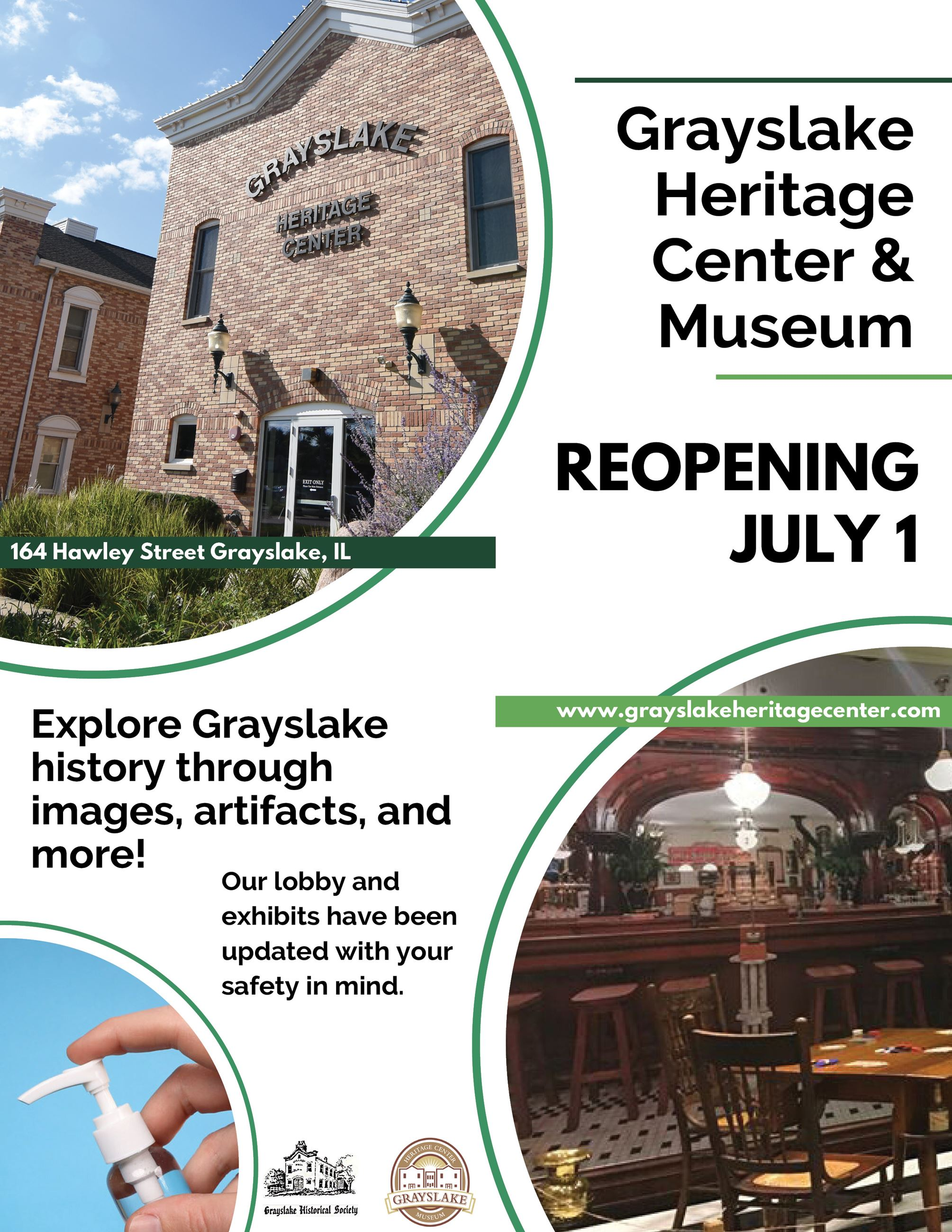 Reopening Poster: The Grayslake Heritage Center & Museum reopens Wednesday, July 1